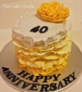 Yellow ombre ruffles cake