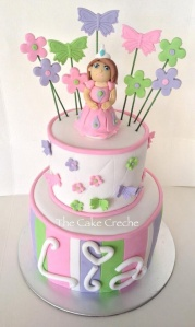 Princess, flowers and butterflies cake