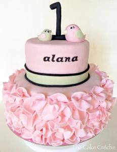 pink ruffle 1st birthday cake