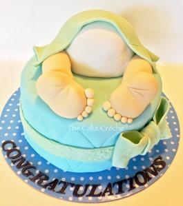 Baby shower baby boy bottom cake