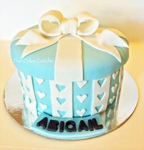 Blue gift box cake