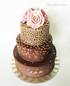 brown and gold sequins engagement cake