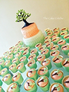 Tree Baby Shower cake and cupcakes