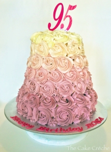 Dusty Pink Ombre Rosette cake