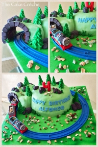 Moving Thomas tank engine train tunnel cake