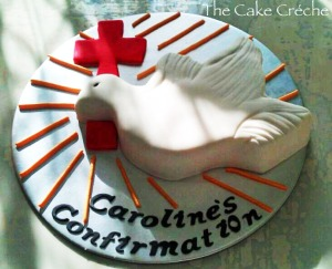 Cross and dove confirmation cake